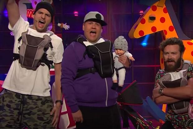 WATCH: Ashton Kutcher, James Corden & Danny Masterson Start Boy Band, Perform 'I'm a Dad'