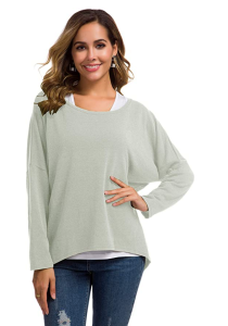 UGET Women's Casual Oversized Batwing Sleeve Pullover Top (Gray)